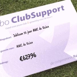 Rabobank Clubkas Campagne cheque ontvangen!