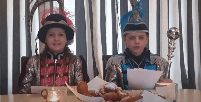 Nieuwjaarspeech Jeugdprins Mika en Jeugdadjudante Anne